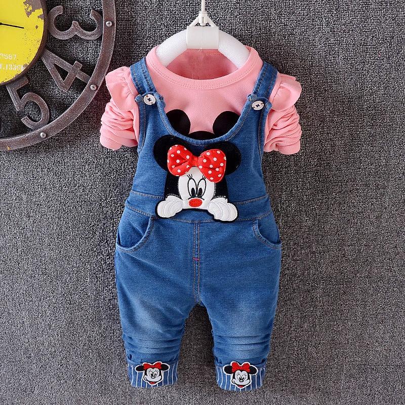 Anlencool 2017 children pants Baby girls cute cartoon cowboy suspender trousers jeans pants kids clothing  Spring