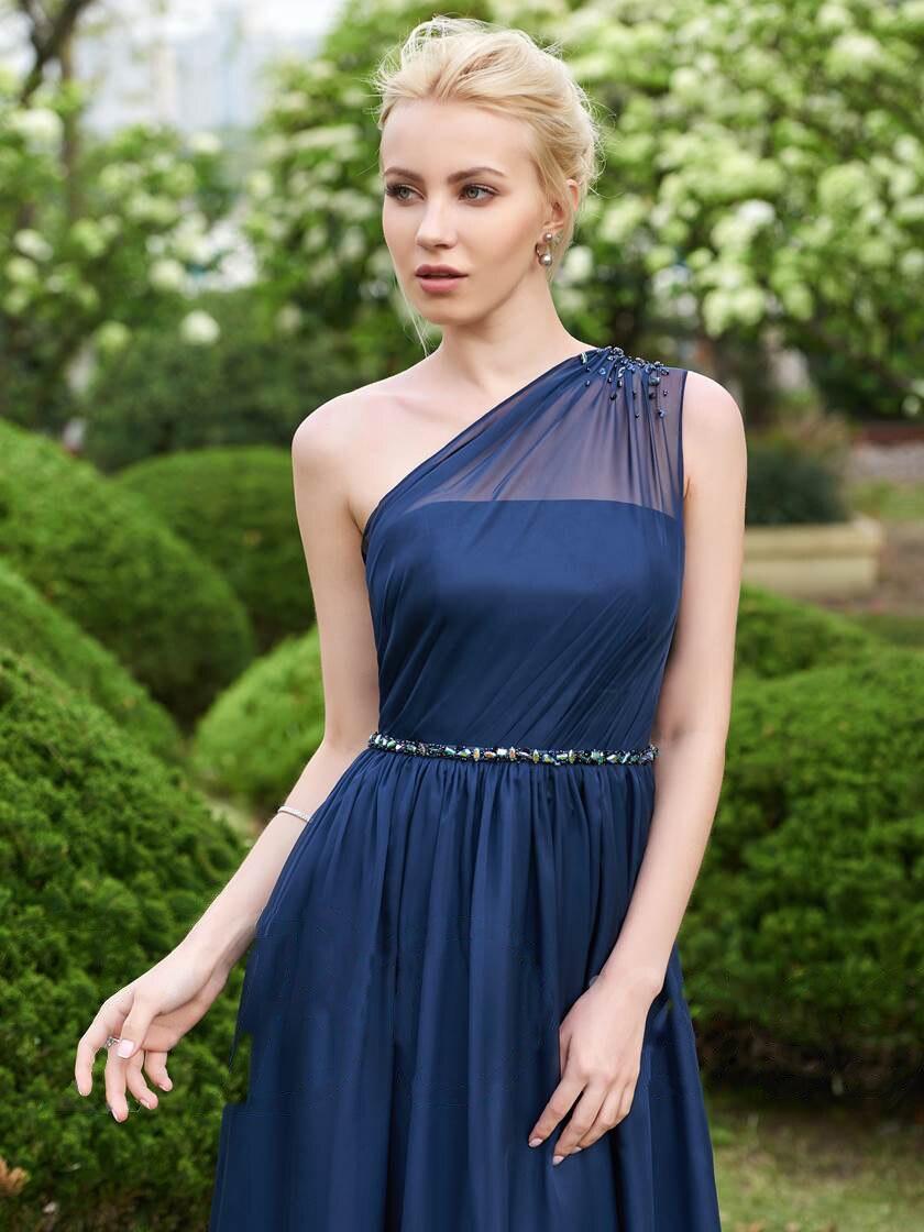 Une épaule en mousseline de soie longues robes de demoiselle d'honneur 2019 perles robes de fête de mariage robe demoiselle d'honneur - 3