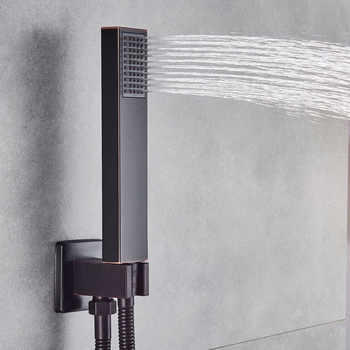 """Wall Mounted 16\"""" Rainfall Shower Faucet Single Handle Concealed Bath Shower Mixers with Handshower Black Shower Tap Brass Spout"""