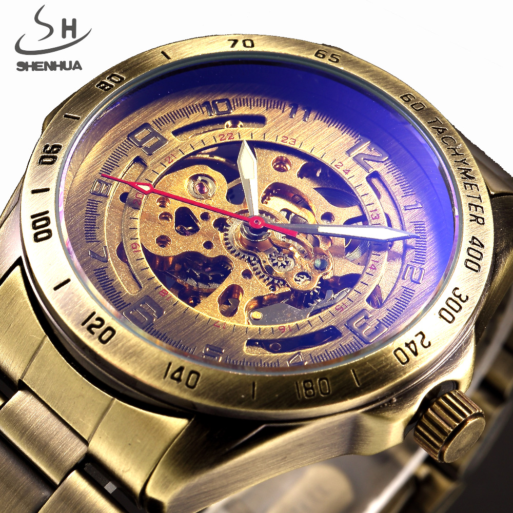SHENHUA Retro Bronze Case Men Skeleton Automatic Mechanical Watches Analog Male Clock Stainless Steel Strap Self Wind Watch shenhua brand black dial skeleton mechanical watch stainless steel strap male fashion clock automatic self wind wrist watches