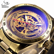 SHENHUA Vintage Bronze Case Men Skeleton Analog Male Clock Brown Stainless Steel Strap Mechanical Automatic Self Wind Watch