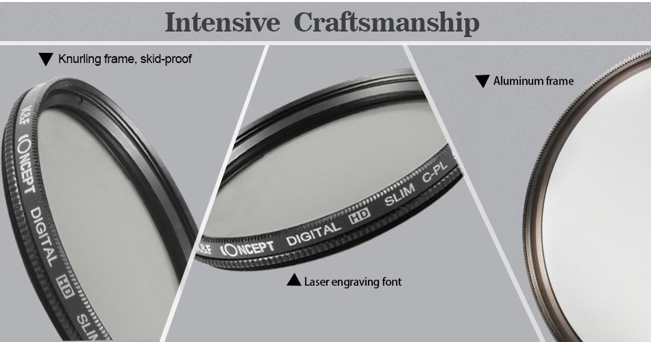K&F CONCEPT 52/58/62/67/72/77mm Slim Circular Polariser CPL Lens Filter fit for Canon for Nikon DSLR Cameras + Cleaning Cloth
