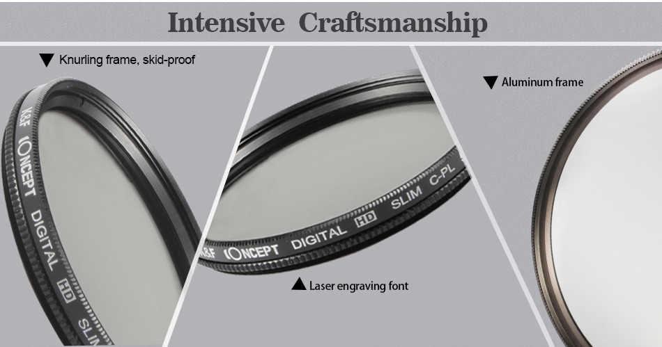K & F CONCEPT 52/58/62/67/72/77mm Slim Circular polarizador Ajuste de filtro de lentes CPL para Canon para cámaras Nikon DSLR + paño de limpieza