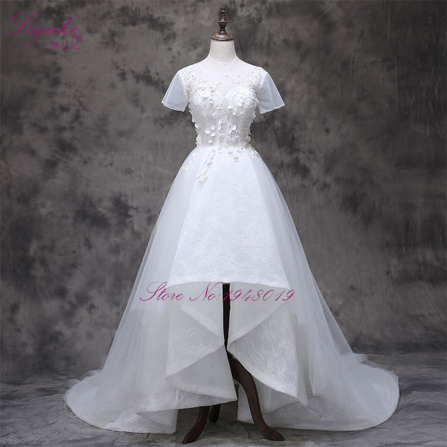 2017 Vestidos De Novias With Small 3D Flower Short Sleeve A Line High Low Wedding Dresses New Arrival Gown
