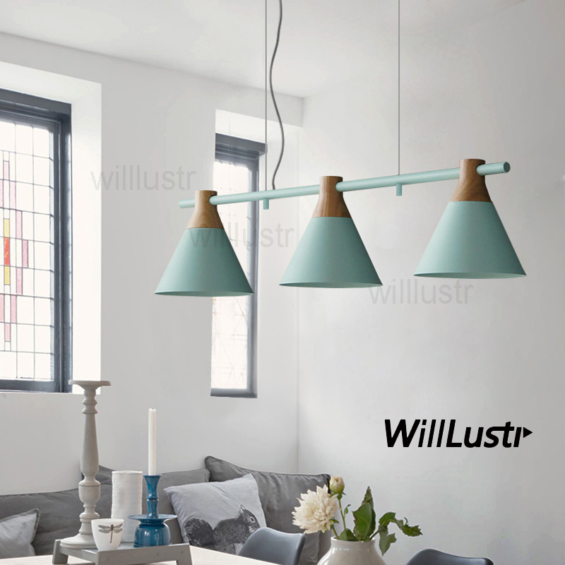 Willlustr Macaron Color 3 Heads Pendant Light Colorful Shade Iron Wood Lamp Hang Lighting Living Dinning Room Restaurant Hotel