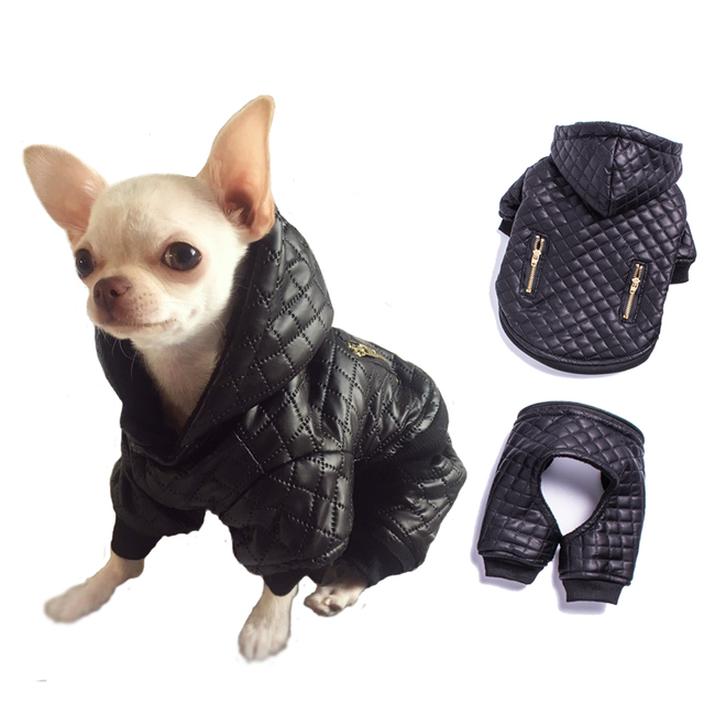 Waterproof Small Pet Dog Clothes Winter Dog Jumpsuit Four Leg Hoodie