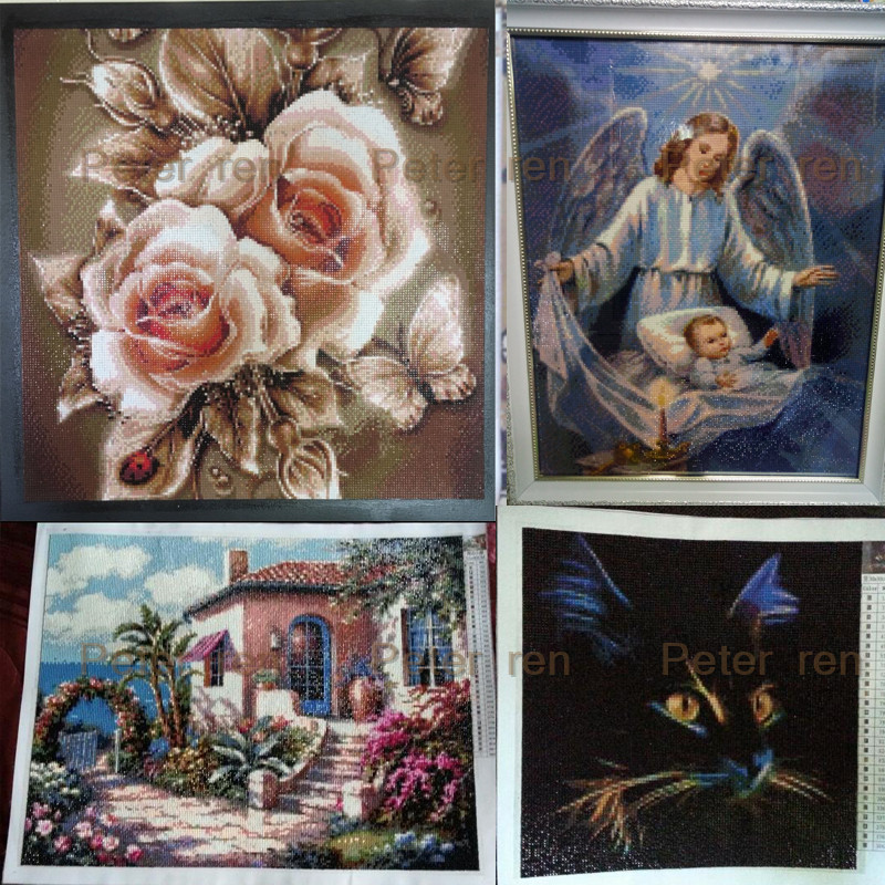 Peter ren Diamond painting cross stitch Pictures of crystals Decoration full mosaic Rhinestones Beaded embroidery Tiger face in Diamond Painting Cross Stitch from Home Garden