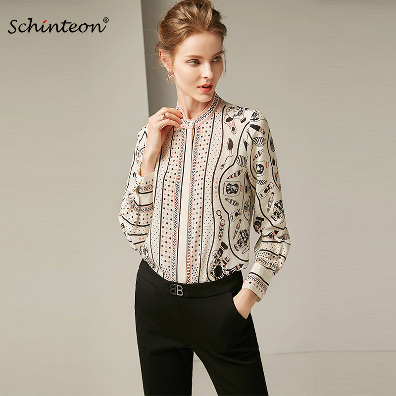 9d77f99ec00 2019 Schinteon Women Spring 100% Real Silk Blouse Femme O-Neck Long Sleeves  Print