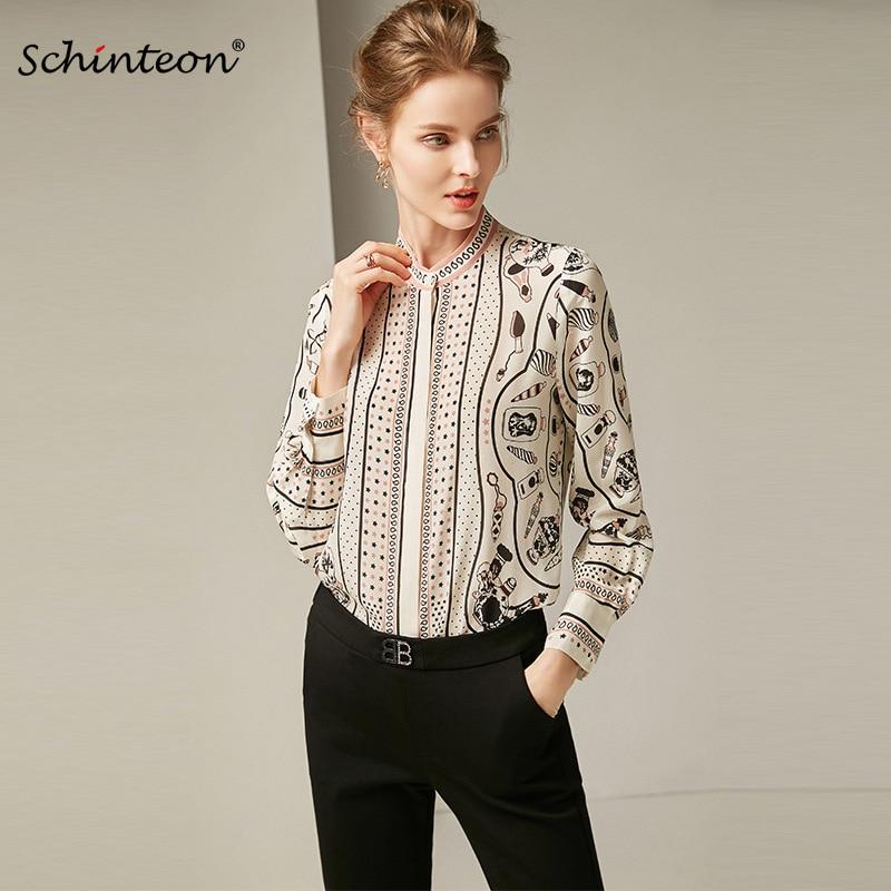 2019 Schinteon Women Spring 100 Real Silk Blouse Femme O Neck Long Sleeves Print Shirt Fashion