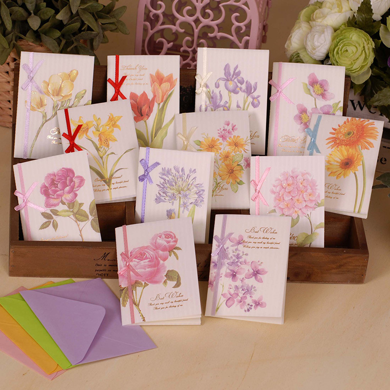 Beautiful Flower Thank You: Aliexpress.com : Buy Booming Flower Cards With Ribbon