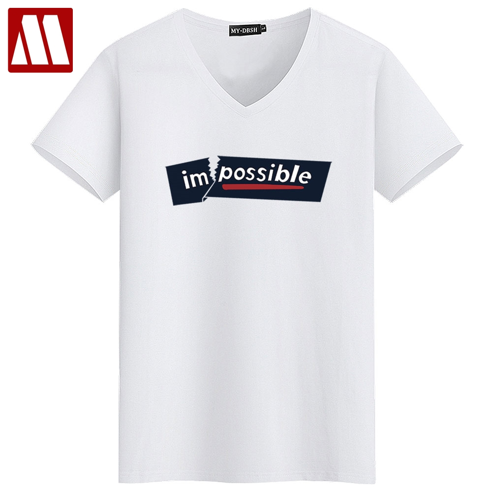 bd7b16e5 Spring Summer Men Cotton T shirt Plus size 5XL Funny Short sleeve letter  impossible male Casual tshirts V neck cheap Tops & Tees-in T-Shirts from  Men's ...