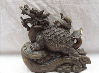 """Antique bronze Pure Copper Brass 8 """" de bronce chino animales FengShui del Turtle Statue On YuanBao Coin"""