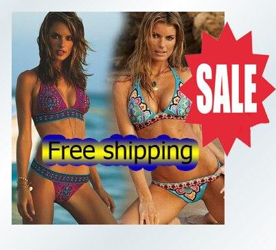 Free shipping 2013 New Sexy  Women Bikini suit With Inside Pads Indian Flower Beachwear Swimsuit bikini set