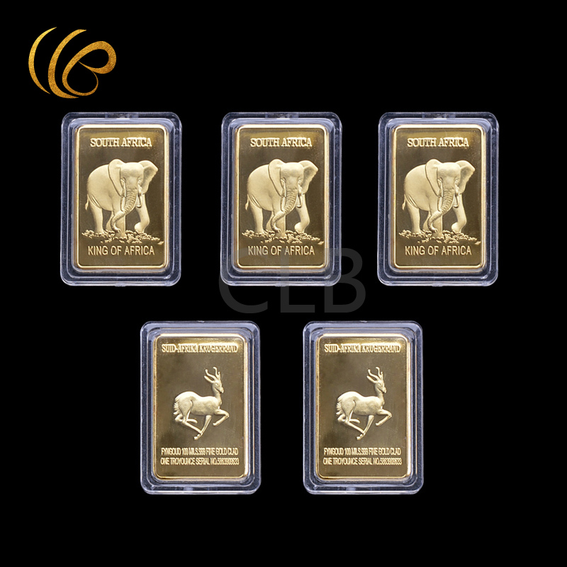 Whole South African Elephant Design Gold Bar Suid Africa Krugerrand 999 Fine Cald With Plastic Case For Gifts In Non Currency Coins From Home