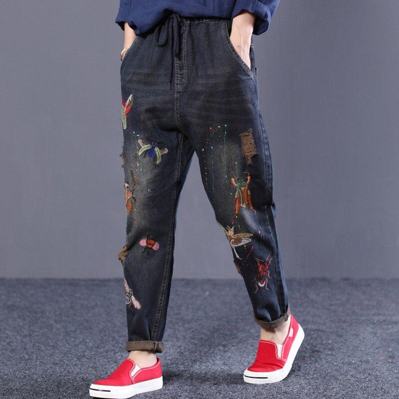 Fori New Ricamo Ricamato In Vita Vecchio Jeans Harem Dei Letterario Stile Lavato Il Elastico Allentato Del Autunno Nero Pantaloni zqIgRxwq