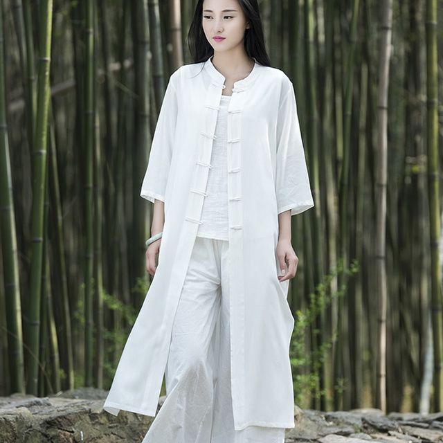 960e740f1e Women Chinese style Plate buckle flax Long Cardigan coat Summer Casual  Vintage seven sleeve linen cotton