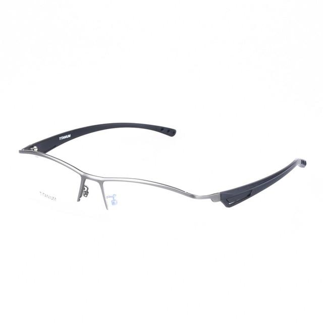 Prescrição de Óculos Armação de Titânio puro Óptica com TR90 Perna Homens Óculos de Aro Semi Estilo de Negócio Masculino Óculos de Grandes Dimensões