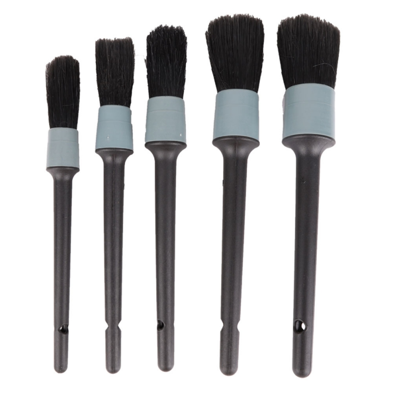 5Pcs Car Brush Cleaning Natural Boar Hair Brushes Auto Detail Tools Wheels Dashboard Car Detailing Brush Cleaning Tool