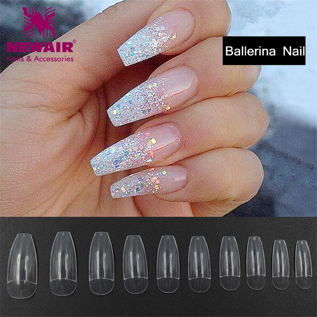 New Long Ballerina Half Nail Tips 500pcs Long Clear Coffin False ...
