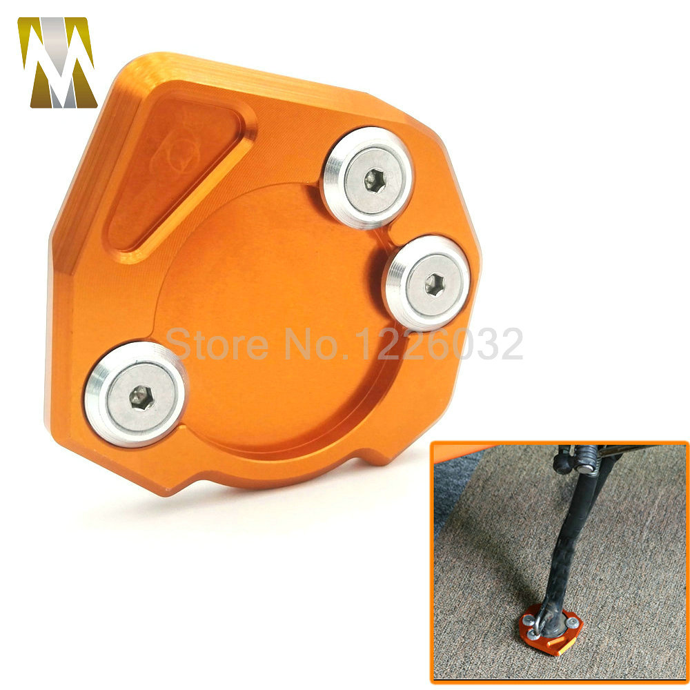 High Quality Motorcycle Kickstand Side Stand Extension Enlarger Support Pad Puck Plate Orange For KTM DUKE 125/200/390 for ktm 390 duke motorcycle leather pillon passenger rear seat black color