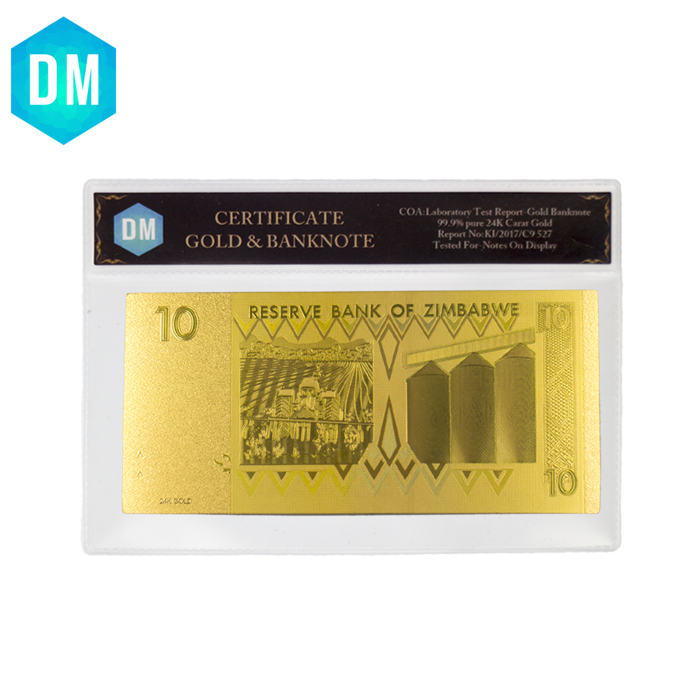 Heißer Verkauf 999,9 Gold Überzogene Geschenke Simbabwe 10 Dollar ...