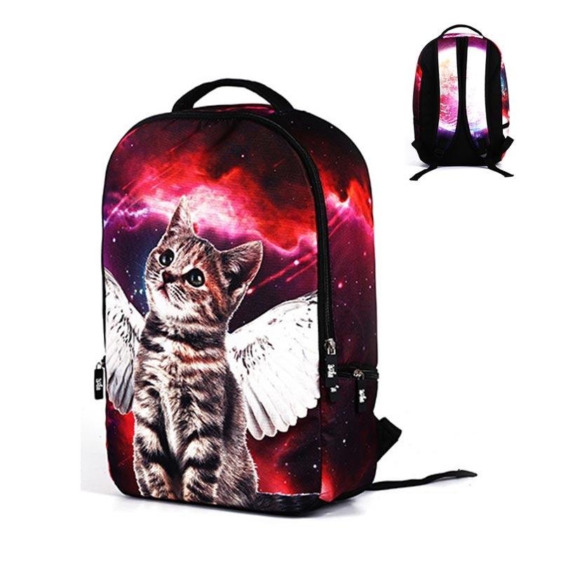 2017 de calidad superior multicolor mochila mujeres gato impresión mochilas para adolescentes bolsas de ordenador portátil 18 pulgadas mochilas escolares Mochila