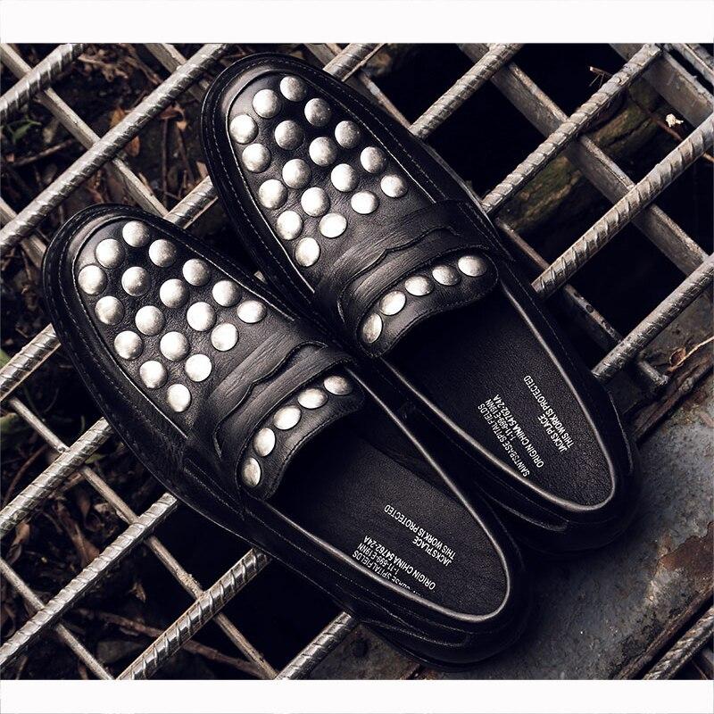 Auf Wohnungen Qualität Männer Hohe Leder Mycolen Schwarzes Casual Müßiggänger Stil Mann Schuhe Mode Slip Sommer Loafers Komfortable qC7Y5w