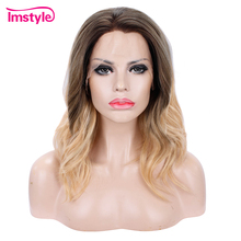 Imstyle Short Wig Ombre Blonde Synthetic Lace Front Wig Water Wave Wigs For Women Heat Resistant Fiber Hair Dark Root Daily Wigs