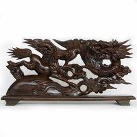 V Wood Dragon Zodiac Long Mudiao Feng Shui Ornaments Crafts Mahogany 60cm Vigorous Spirit Of The