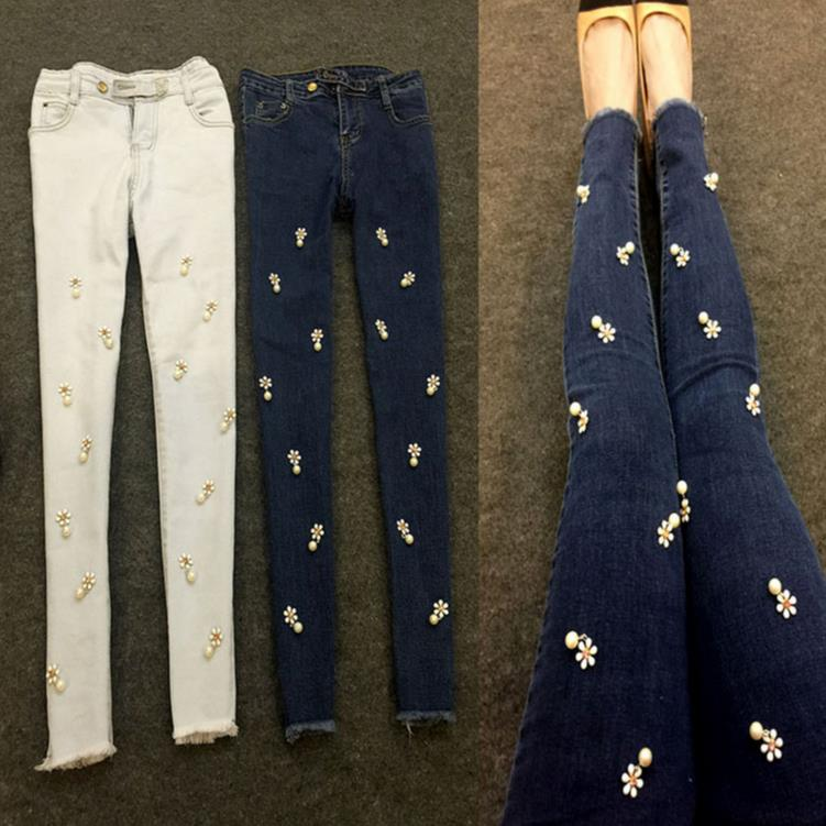 New women skinny jeans Flowers diamonds pearl stretch jeans trousers pencil pants