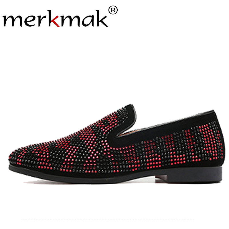 Merkmak Summer Diamond Men's Loafers Casual Male Dress Shoes Anti-skid Comfortable Man Shoes Soft Male Big Size 37- 48 Flats