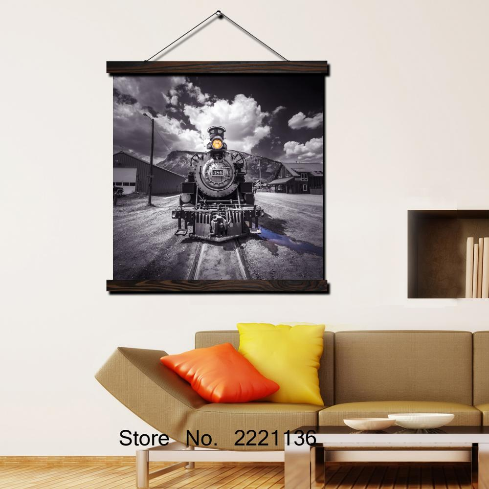 Black Cool Train HD Print Scroll Paintings Wall Art Printed Hanging Framed Canvas Painting Modern Home Decoration