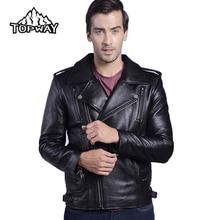 New Arrive Warm Winter Genuine Cowskin Leathers Coat Big Lapels Locomotive Leather Jacket Men Motorcycle Chaquetas Cuero Hombre