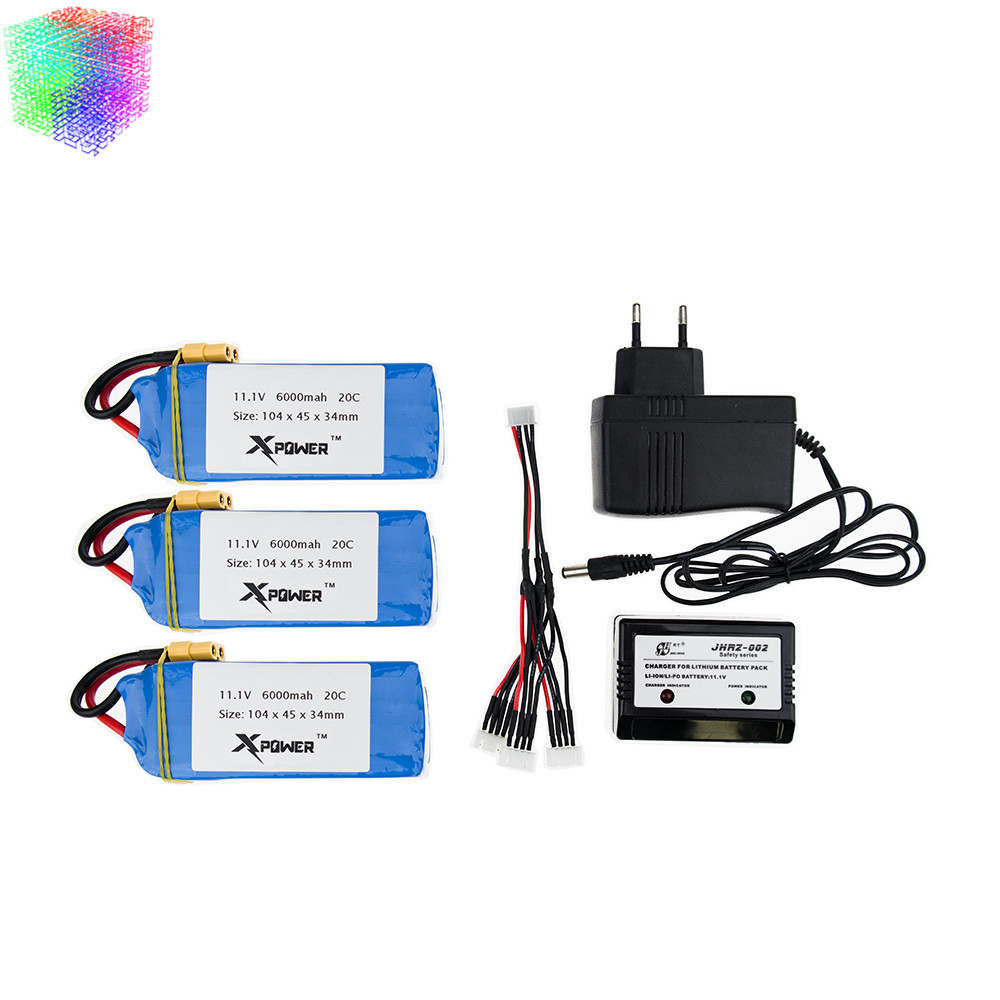 11 1V 6000mAh 20C Lipo Battery 2 3 pcs and charger for XK X380 X380 A