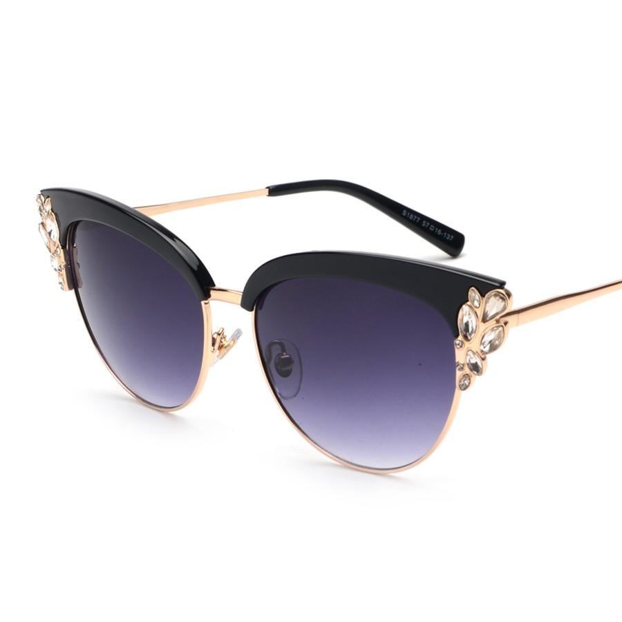 Rimless Eyeglasses With Rhinestones : Peekaboo 2017 Summer style cat eye sunglasses women ...
