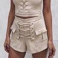 Zewo Vintage Lace Up Summer Casual Pocket Shorts Women Army Green Trousers Sexy Zipper Hot Shorts Black Fashion Short Feminino