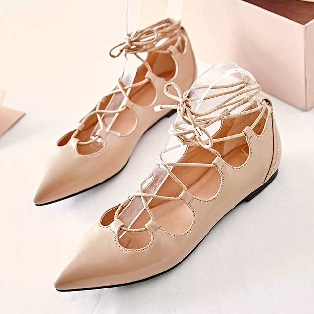 28756a244b1 Plus size 44 Woman Gladiator Flats Designer Shoes Woman Ballet Flats Shoe  Female Lace Up Rome Shoes for Spring   Summer