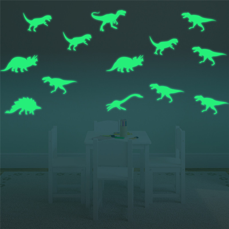 9Pcs Glow In The Dark Dinosaurs Toys Stickers Ceiling Decal Baby Kid Room 1