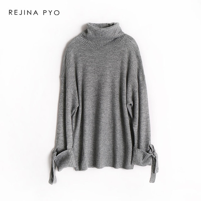 REJINAPYO Women Wool Blends Solid Elegant Knitted Sweater Female Casual High Quality Loose Pullovers 2019 Spring New Arrival