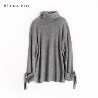 REJINAPYO Women Wool Blends Solid Elegant Knitted Sweater Female Casual High Quality Loose Pullovers 2018 Autumn New Arrival