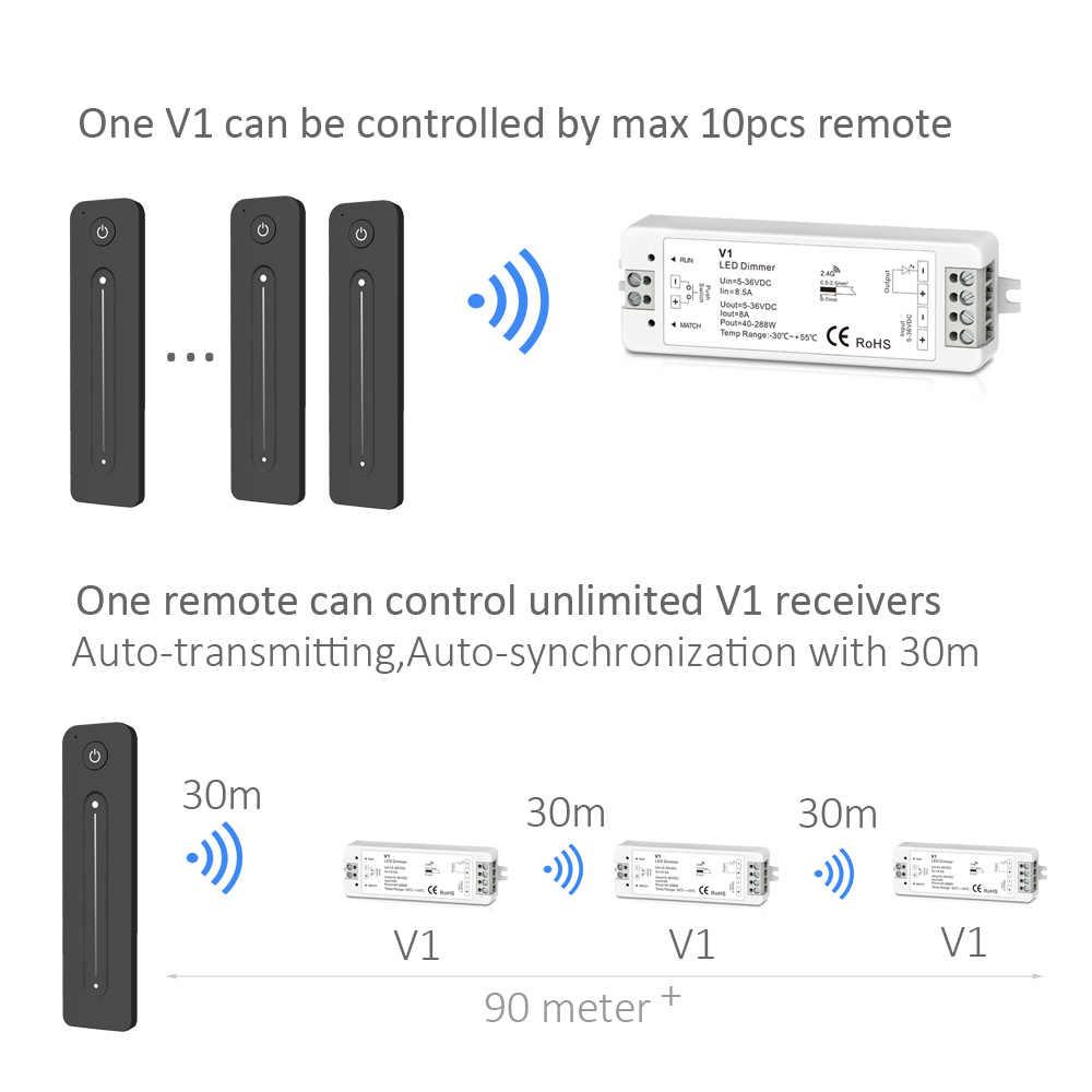 Amplificateur de gradateur de LED 12V 5V 24V 36V 8A PWM sans fil RF 2.4G commutateur de réglage de luminosité à distance tactile pour bande de LED couleur simple