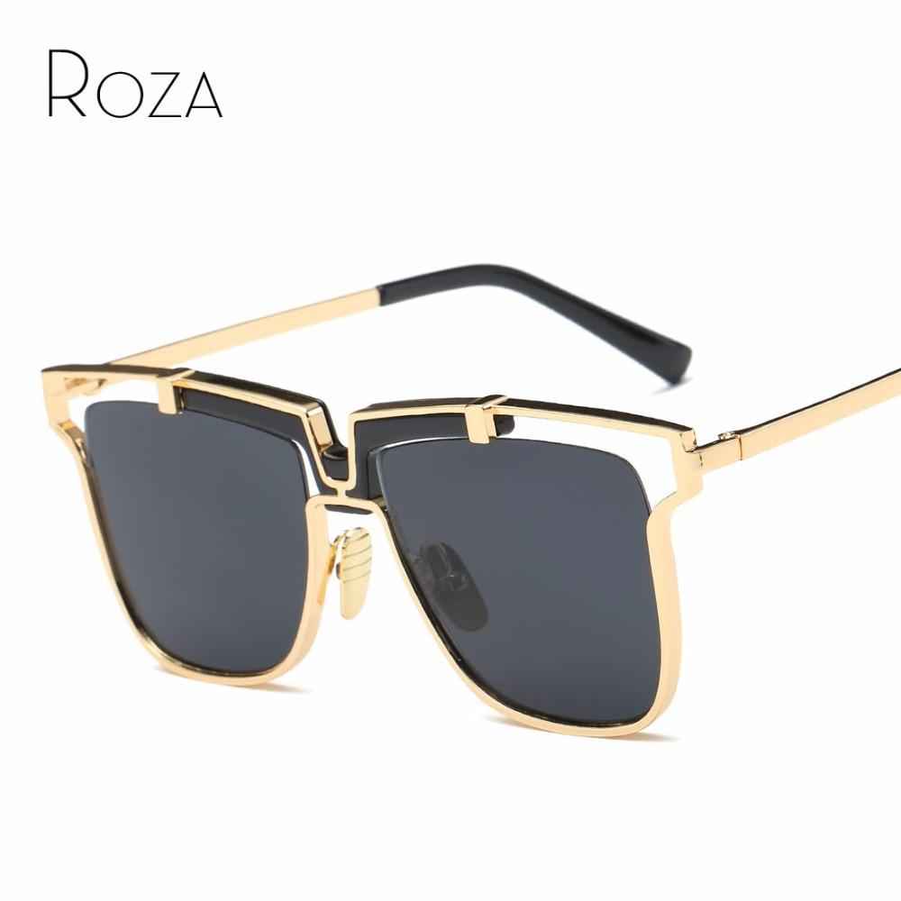 Roza Sunglasses Untuk Wanita Gaya Steampunk Oversize Kacamata Nosepad Slide In Rumah Paten Merek Desainer Matahari Uv400 Qc0491