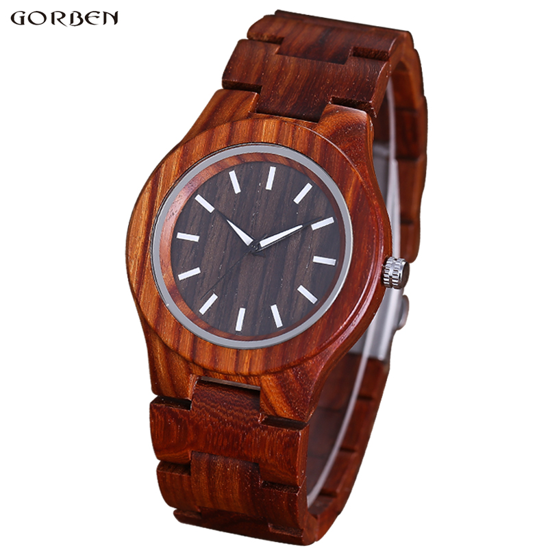 Fashion Wooden Bracelet Men's Watch Full Natural Wood Watches Mens Round Dial Brown Quartz Wood Wristwatches DropShip Best Gifs fashion hot sells casual watches men uwood w389a full natural wood round wristwatch quartz analog mens wooden watch as gift