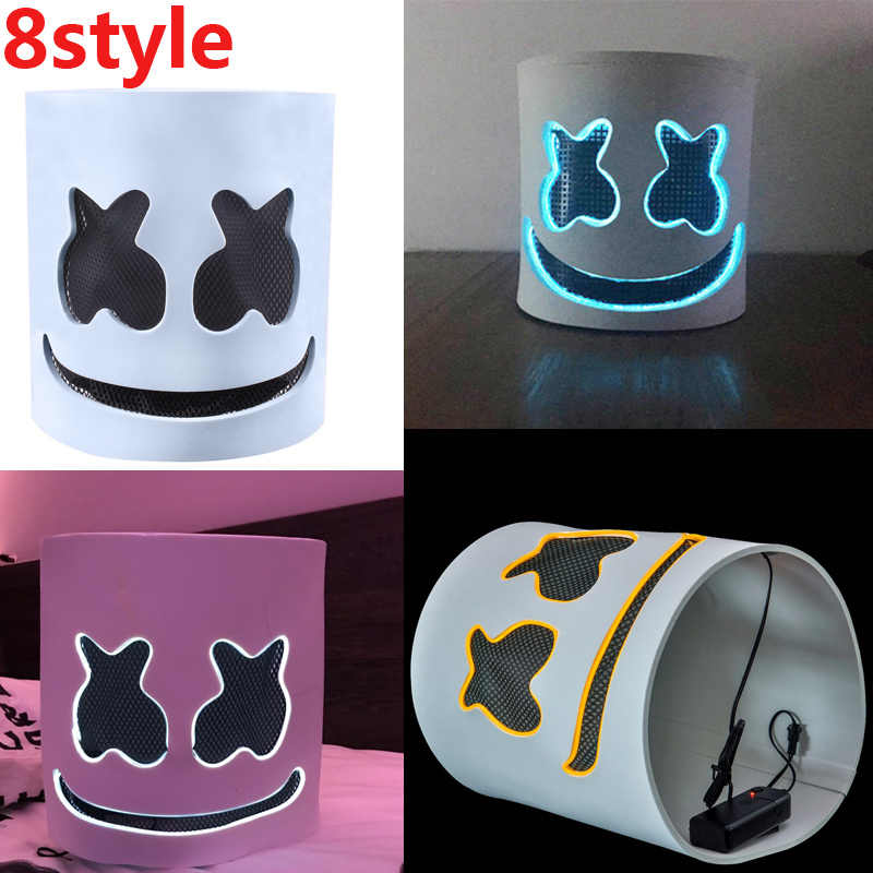 DJ Marshmallow MASK Cosplay Props EVA LED Full Face Helmet DIY Marshmello Kids Adults Halloween Party Bar Accessories