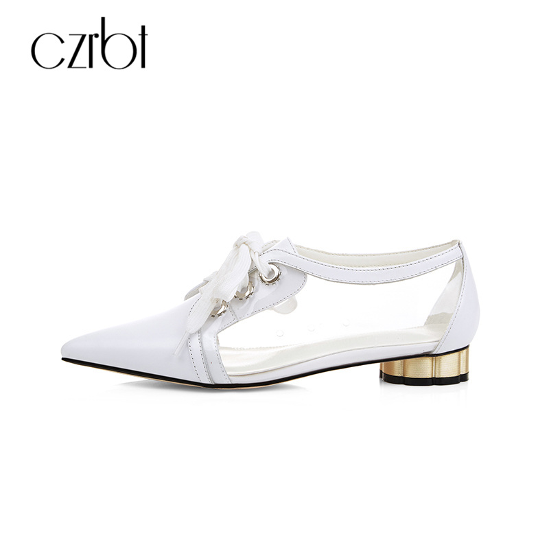 CZRBT Fashion Butterfly-Knot Tied Women Flats Shoes Transparent and Genuine Leather Sping Summer New Pointed Toe Casual Shoes