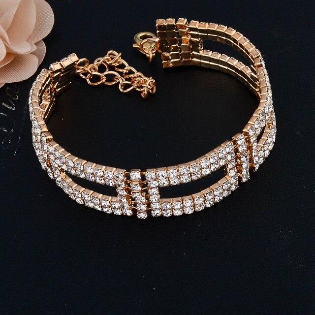 Фото toucheart роскошный бренд золотые кристаллы регулируемые браслеты цена