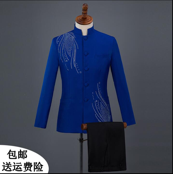 Singer star style dance stage Sequins clothing for men Chinese tunic suit set mens wedding suits costume men formal dress S 2XL