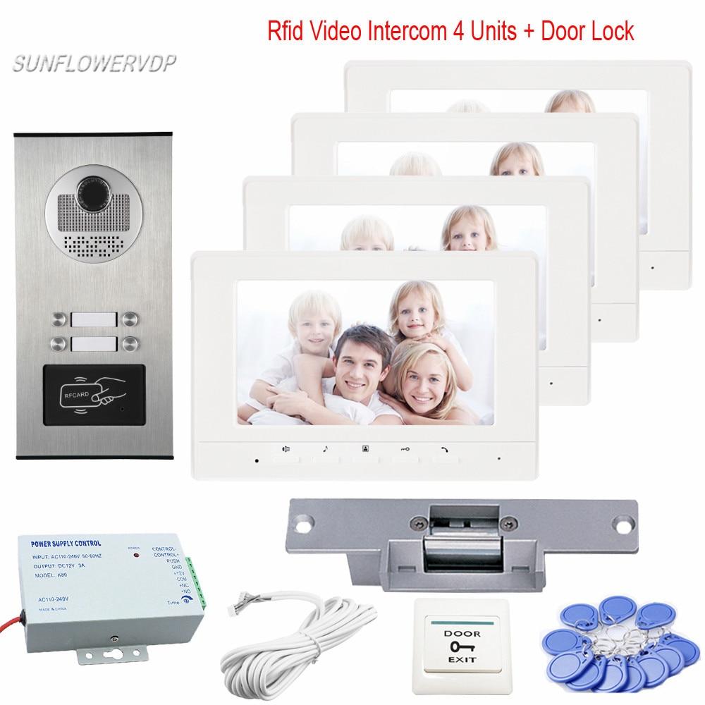 Intercom Rfid For 4 Apartment Video Door Phone Doorbell Intercom Night-Vision Camera Intercom 7
