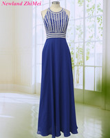 New Blue Long Chiffon Prom Dress Sparking Beaded Crystals O Neck Backless Woman Prom Night Party Dresses vestido formatura