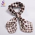 BYSIFA Marca Caqui Dot Plazoleta Bufandas Impreso Otoño Invierno Hombre Ocasional de Las Mujeres de Seda Imitado Bufanda 52*52 cm